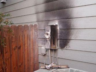 A burned smart meter is seen on a home in Reno