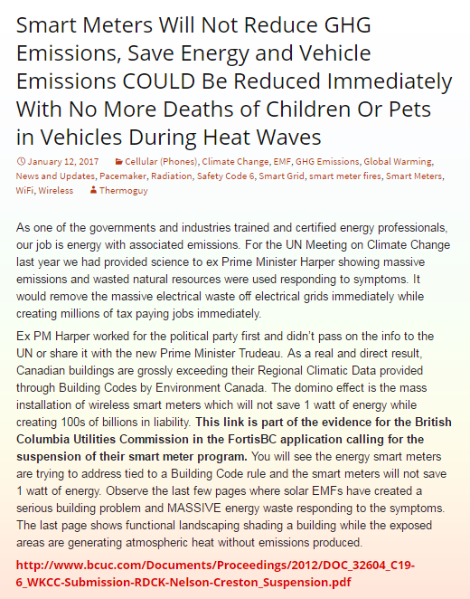 Smart Meters Will Not Reduce GHG Emissions, Save Energy and Vehicle Emissions COULD Be Reduced Immediately With No More Deaths of Children Or Pets in Vehicles During Heat Waves