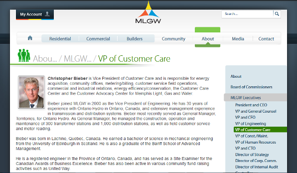 About Christopher Bieber, Vice President of Customer Care of MLGW