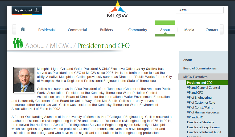 Memphis Light, Gas and Water President & Chief Executive Officer Jerry Collins