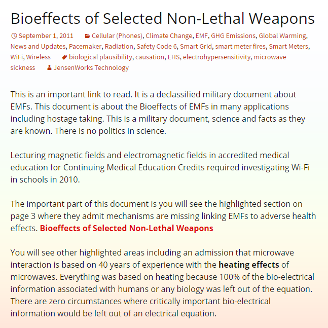 Bioeffects of Selected Non-Lethal Weapons1
