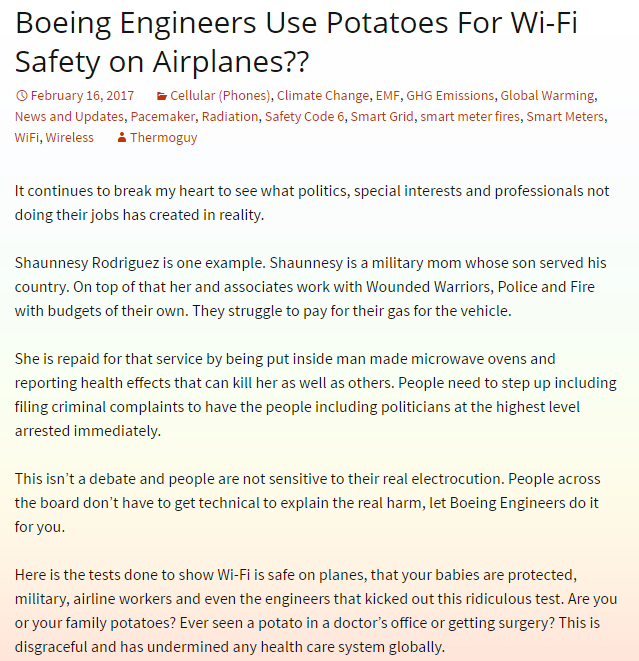 Boeing Engineers Use Potatoes For Wi-Fi Safety on Airplanes??