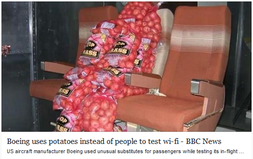 Boeing uses potatoes instead of people to test wi-fi