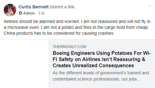 Boeing Engineers Using Potatoes For Wi-Fi Safety on Airlines Isn't Reassuring & Creates Unrealized Consequences