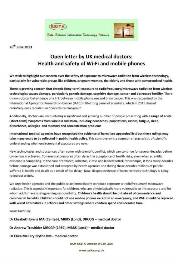 Open Letter By UK Medical Doctors: Health And Safety Of Wi Fi And Mobile  Phones