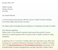 Health Canada Not Reporting Error or Omission in Safety Code 6 or Recommendations of Committee