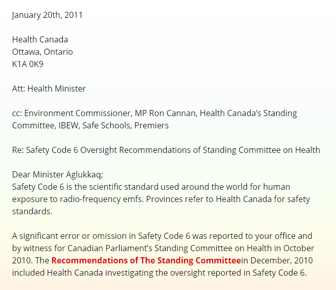 Health Canada Not Reporting Error or Omission in Safety Code 6 or Recommendations of Committee1