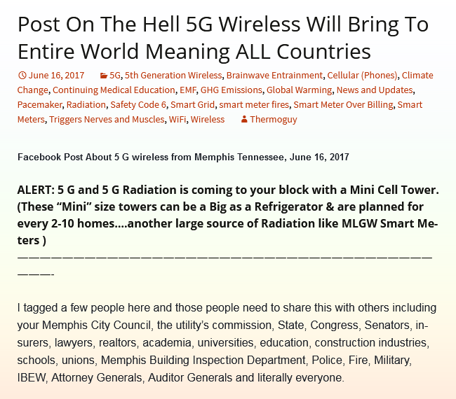 Post On The Hell 5G Wireless Will Bring To Entire World Meaning ALL Countries