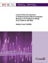 Limits of Human Exposure to Radiofrequency Electromagnetic Energy in the Frequency Range from 3 kHz to 300 GHz Health Canada Safety Code 6 (2009)