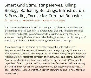Smart Grid Stimulating Nerves, Killing Biology, Radiating Buildings, Infrastructure & Providing Excuse for Criminal Behaviour