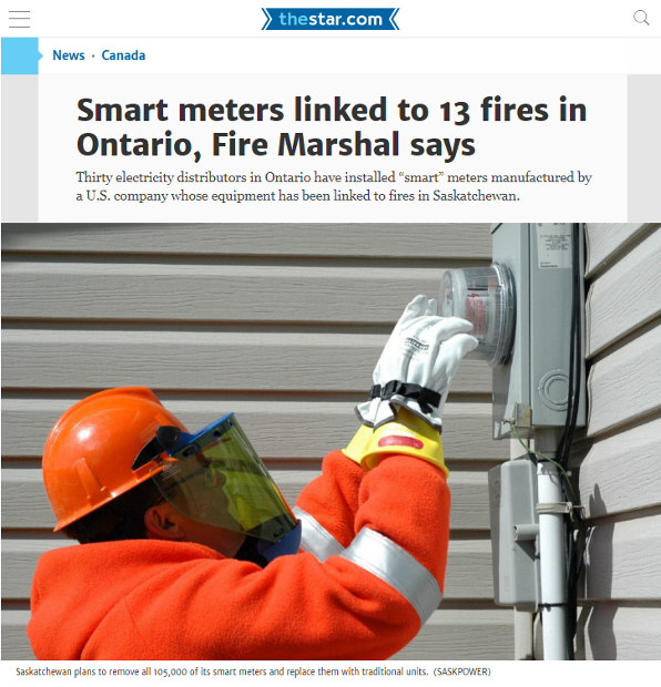 p1-Smart meters linked to 13 fires in Ontario, Fire Marshal says