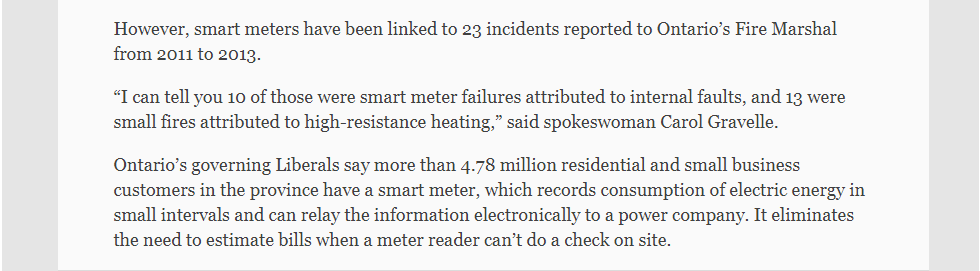 p3-Smart meters linked to 13 fires in Ontario, Fire Marshal says