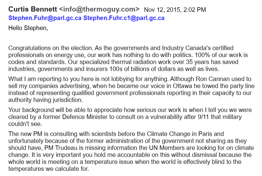 MP Stephen Fuhr and Prime Minister Trudeau Regarding Missing Science for UN Climate Change Conference November 12, 2015