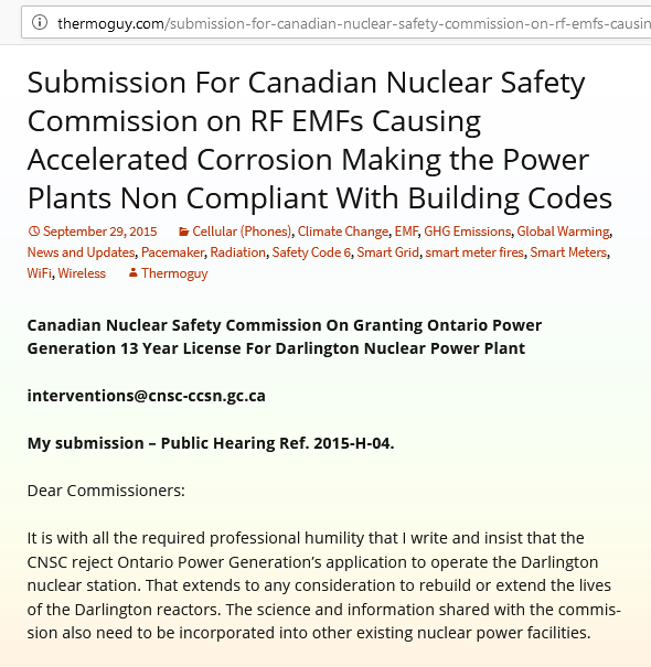 Submission for the Canadian Nuclear Safety Commission on RF EMFs(microwaves)