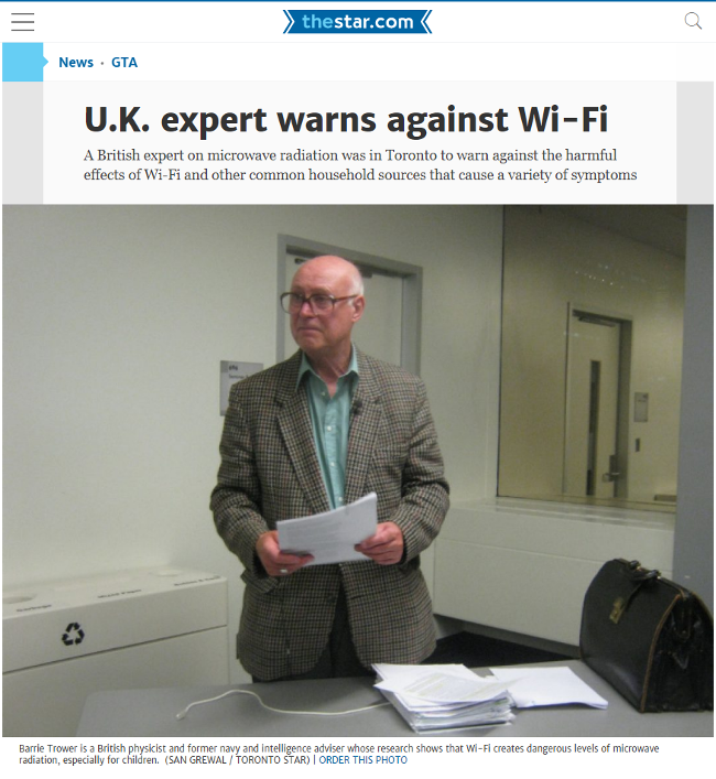 [Link] Toronto Star: 'U.K. expert warns against Wi-Fi'